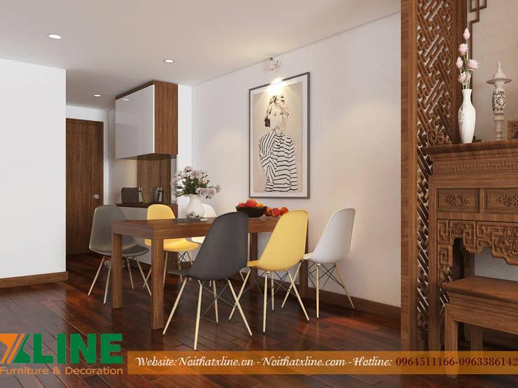 CHI PHÍ THI CÔNG NỘI THẤT CHUNG CƯ CĂN HỘ 80M2 Phòng ăn phong cách hiện đại bởi NỘI THẤT XLINE Hiện đại Gỗ Wood effect