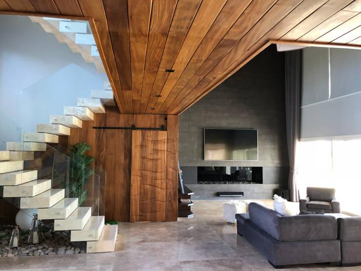 Casa Diagono Livings de estilo moderno de Maximiliano Lago Arquitectura - Estudio Azteca Moderno