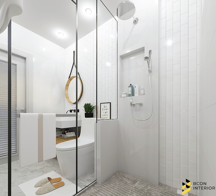 ผลงานการออก ห้องน้ำ โครงการ Ananya ที่จังหวัด สกลนครค่ะ: ที่เรียบง่าย  โดย Bcon Interior, มินิมัล