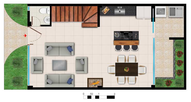 Reserva el Lago Piso 1.: Cocinas de estilo  por PLASS Arquitectura & Construcción, Moderno