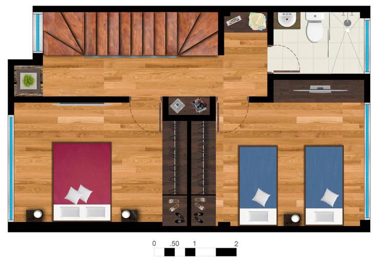 Reserva el Lago Piso 2-1.: Habitaciones de estilo  por PLASS Arquitectura & Construcción, Moderno