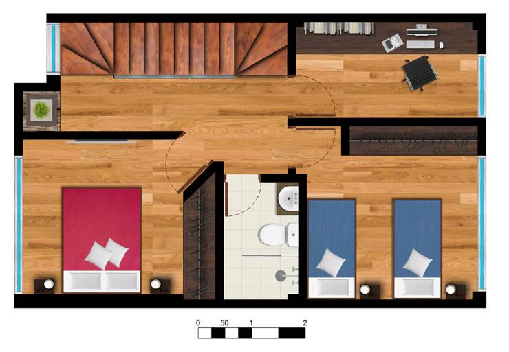Reserva el Lago Piso 2-2.: Habitaciones de estilo  por PLASS Arquitectura & Construcción, Moderno