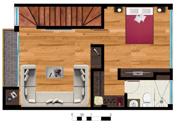 Reserva el Lago Piso 3-1.: Habitaciones de estilo  por PLASS Arquitectura & Construcción, Moderno