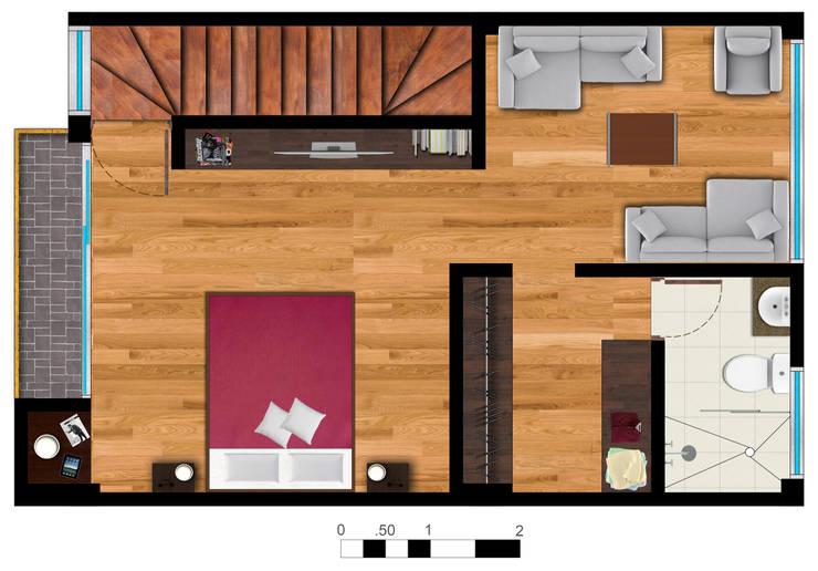 Reserva el Lago Piso 3-2.: Habitaciones de estilo  por PLASS Arquitectura & Construcción, Moderno