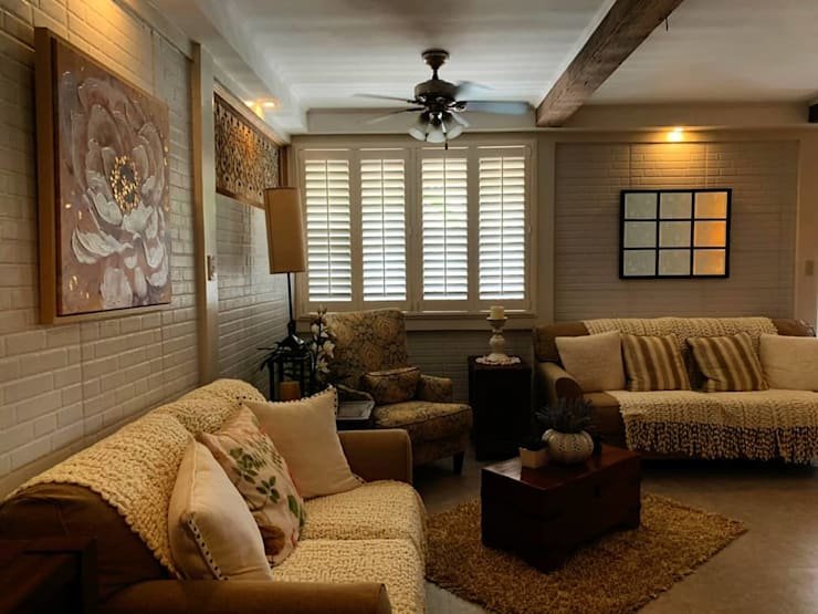 uPVC Plantation Window Shutters on Living Room:  Living room by LouverWise Inc, Country