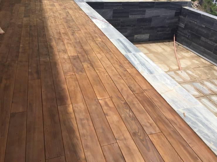 Ván sàn hồ bơi gỗ tự nhiên cao cấp - gỗ Ash sấy biến tính bởi KIÊN LINH