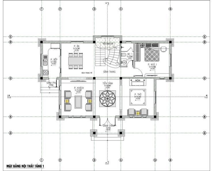 thiết kế biệt thự 3 tầng mái thái bởi Việt Architect Group Tối giản
