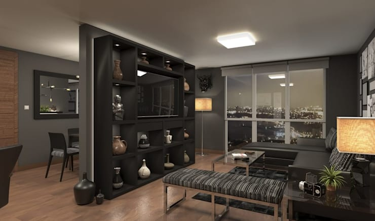 Departamento de Soltero - Sala Principal : Salas / recibidores de estilo  por Alexander Congonha, Ecléctico Madera Acabado en madera