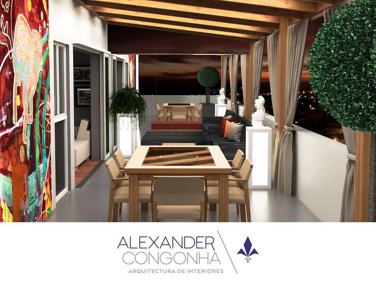 Terraza en Penthouse de San Borja : Terrazas de estilo  por Alexander Congonha, Mediterráneo Madera Acabado en madera