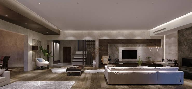 فيلا سكنية:  الممر والمدخل تنفيذ Karim Elhalawany Studio, حداثي