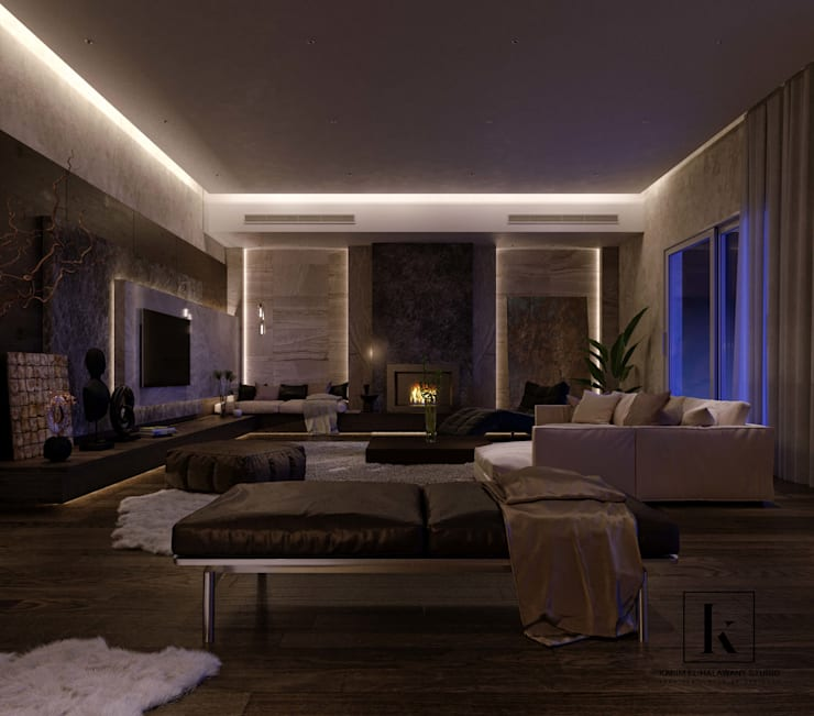 فيلا سكنية:  غرفة المعيشة تنفيذ Karim Elhalawany Studio, حداثي