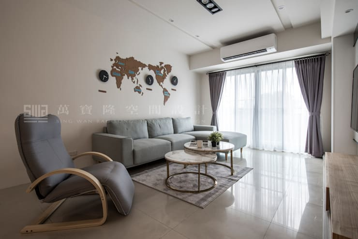 老屋新力/星光水悅:  客廳 by SING萬寶隆空間設計, 北歐風