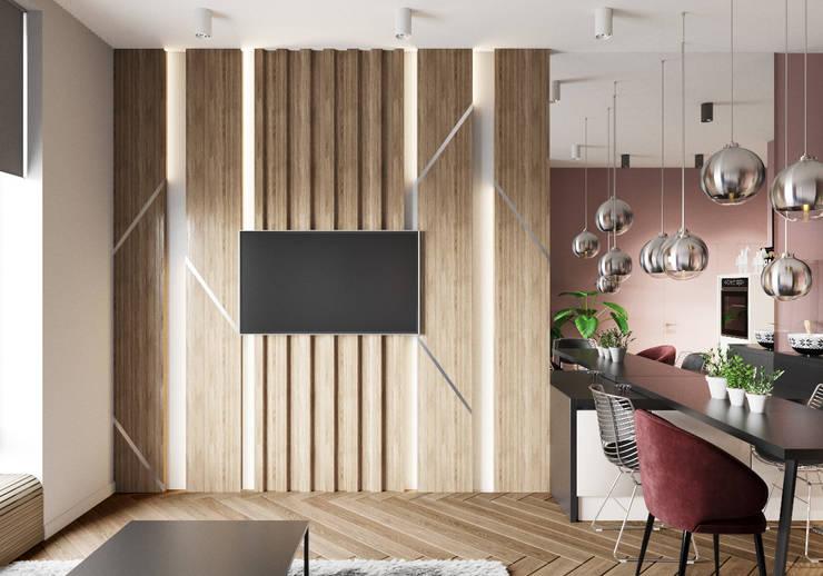 Salas de estilo escandinavo de 'INTSTYLE' Escandinavo Madera Acabado en madera
