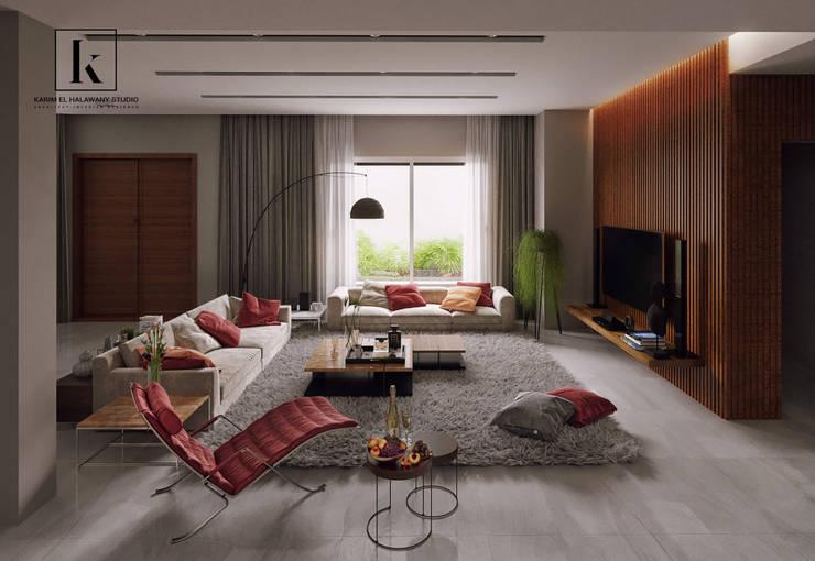 فيلا سكنية:  غرفة الميديا تنفيذ Karim Elhalawany Studio, حداثي
