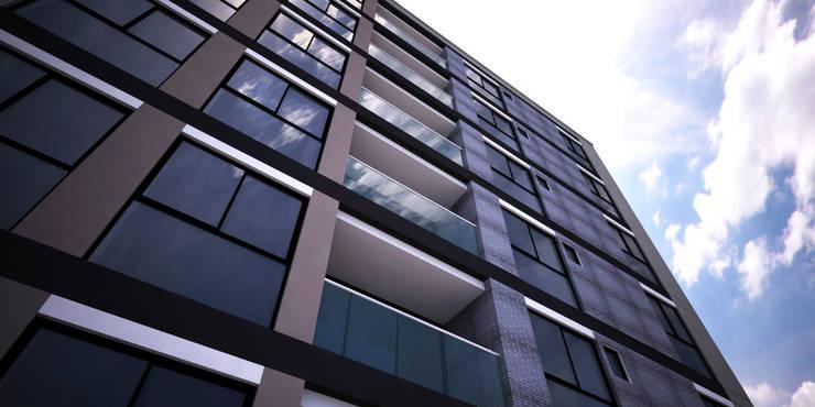 Fachada edificio: Casas multifamiliares de estilo  por Velasco Arquitectura, Moderno