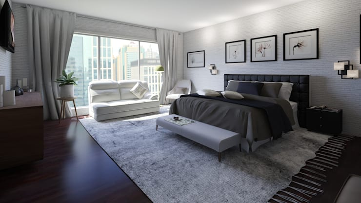 Home Staging Virtual: Habitaciones de estilo  por Arkiline Arquitectura Optativa, Moderno Aglomerado