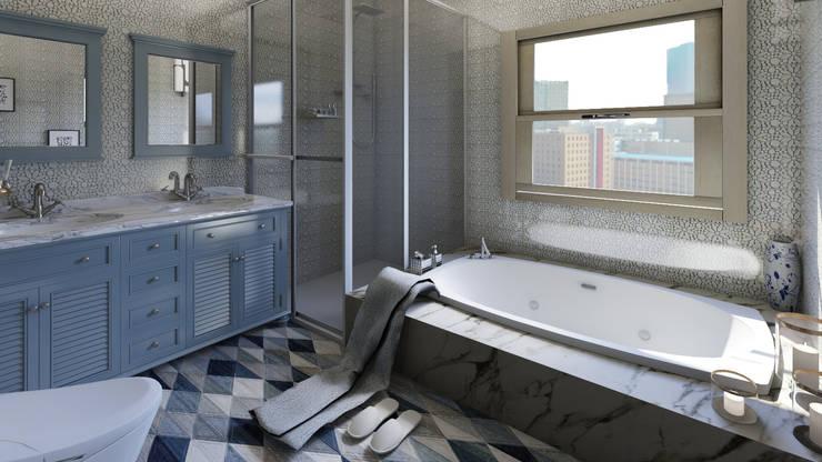 Home Staging Virtual: Baños de estilo  por Arkiline Arquitectura Optativa, Moderno Aglomerado