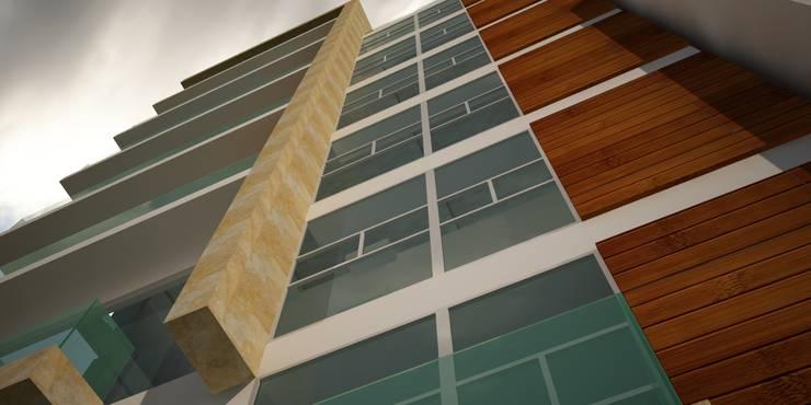 Fachada principal: Casas multifamiliares de estilo  por Velasco Arquitectura, Moderno Mármol