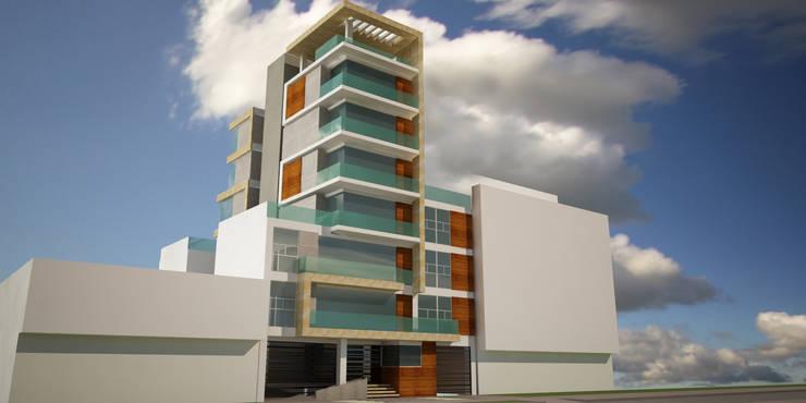 Perspectiva de fachada de acceso y lateral: Balcón de estilo  por Velasco Arquitectura, Moderno Madera Acabado en madera