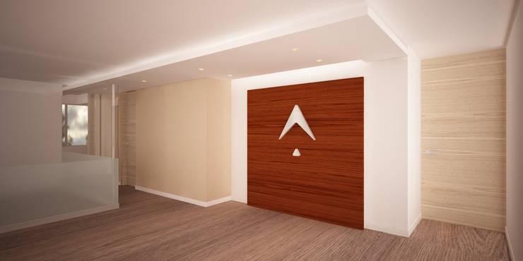 Recepción Oficina: Pasillos y vestíbulos de estilo  por Velasco Arquitectura, Moderno Madera Acabado en madera