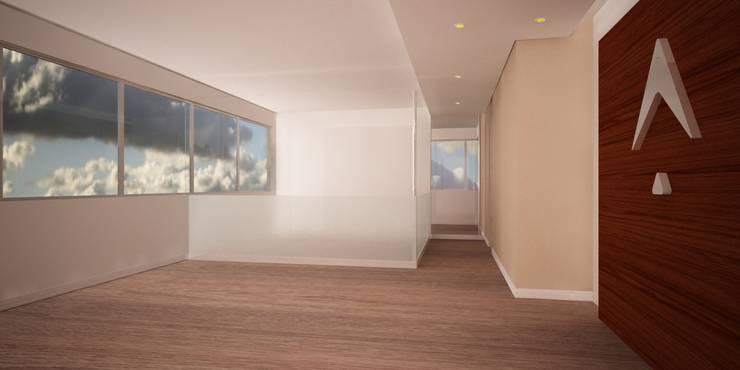 Pasillo hacia sala de juntas y oficina gerencial en vidrio templado: Pisos de estilo  por Velasco Arquitectura, Moderno Madera Acabado en madera