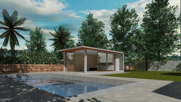 QUINCHO Y PISCINA :  de estilo  por  Constructora Sanar spa , Moderno