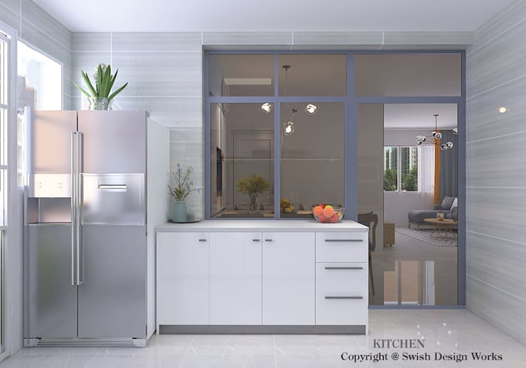 Semi open kitchen:  Kitchen units by Swish Design Works,Modern Quartz