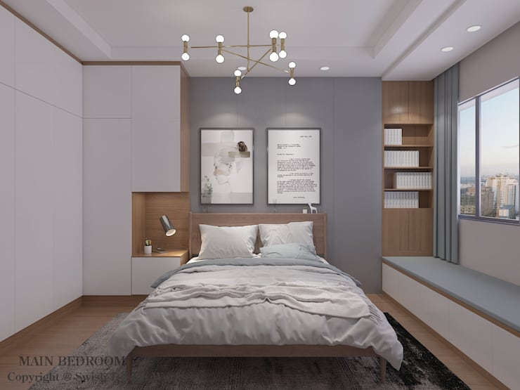 Master bedroom option 1:  Small bedroom by Swish Design Works,Modern Plywood