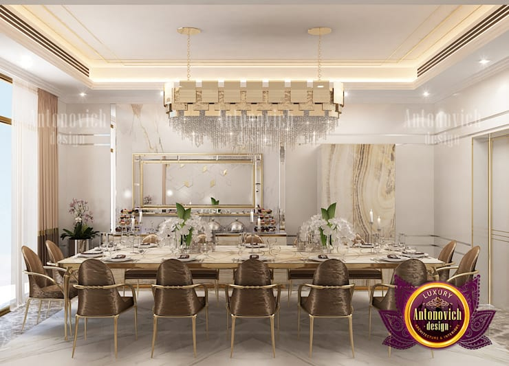 """Gold and Brown Colors for the Perfect Dining Room: {:asian=>""""asian"""", :classic=>""""classic"""", :colonial=>""""colonial"""", :country=>""""country"""", :eclectic=>""""eclectic"""", :industrial=>""""industrial"""", :mediterranean=>""""mediterranean"""", :minimalist=>""""minimalist"""", :modern=>""""modern"""", :rustic=>""""rustic"""", :scandinavian=>""""scandinavian"""", :tropical=>""""tropical""""}  by Luxury Antonovich Design,"""