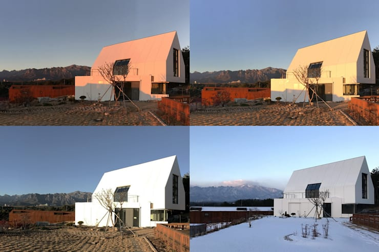 동측전경 / 빛. 색을 품음: AEV Architectures (아으베아키텍쳐스)의  주택,미니멀