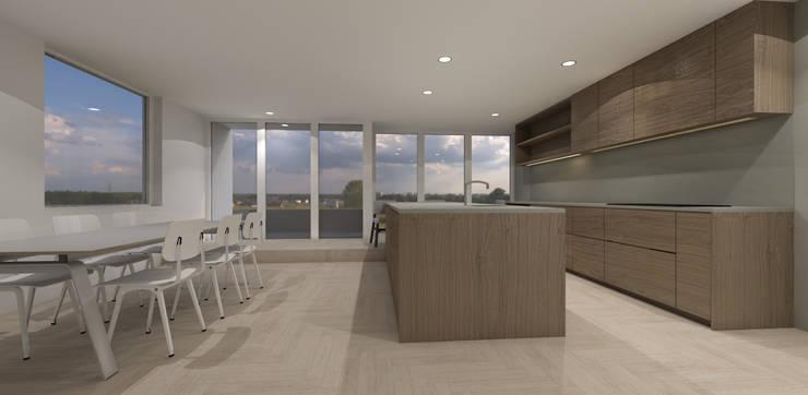 grote woonkeuken met eiland:  Keuken door Studio DEEVIS, Modern Hout Hout