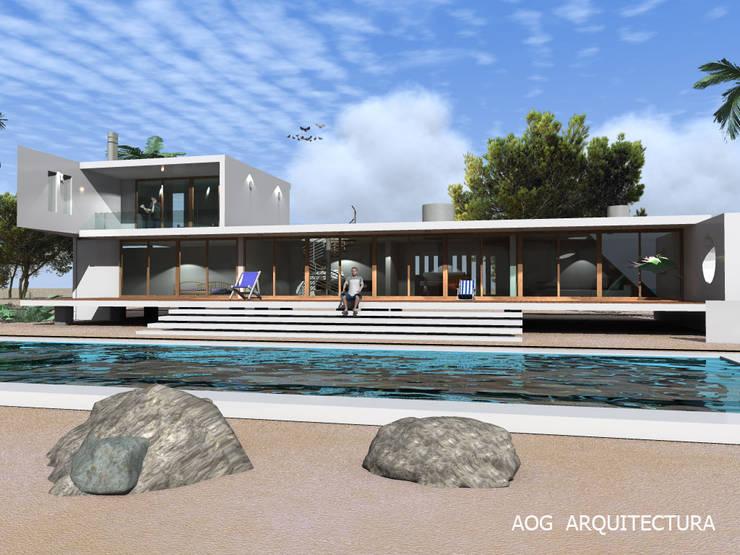 CASA AW - COSTA CACHAGUA: Casas prefabricadas de estilo  por AOG, Mediterráneo Concreto