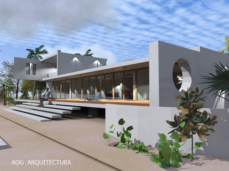 CASA AW - COSTA CACHAGUA: Casas unifamiliares de estilo  por AOG, Mediterráneo Concreto