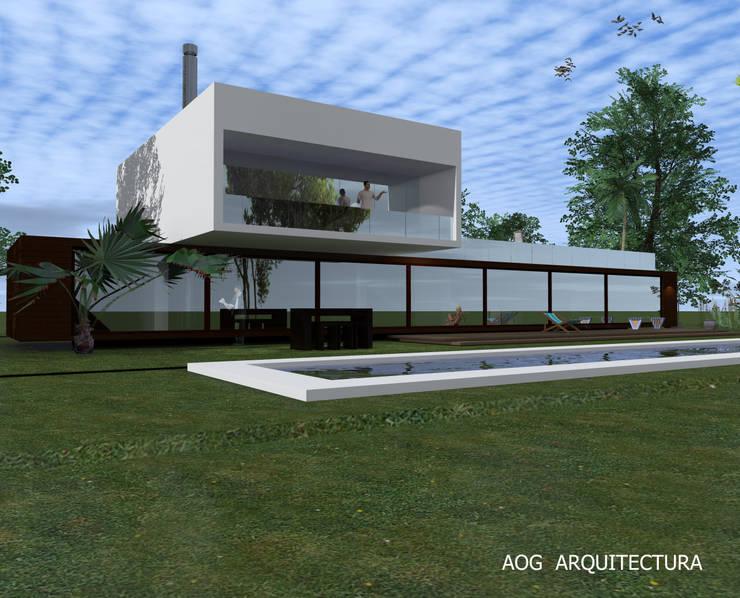 CASA OV - LA DEHESA: Casas de estilo  por AOG, Mediterráneo Concreto