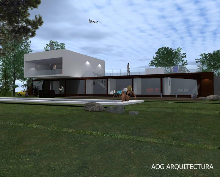 CASA OV - LA DEHESA: Casas unifamiliares de estilo  por AOG, Mediterráneo Concreto