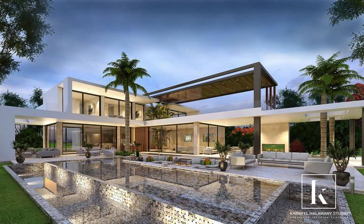 فيلا سكنية فاخرة:  فيلا تنفيذ Karim Elhalawany Studio, حداثي