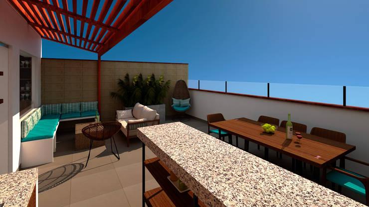 Terraza Zona Parrilla:  de estilo industrial por MF STUDIO, Industrial