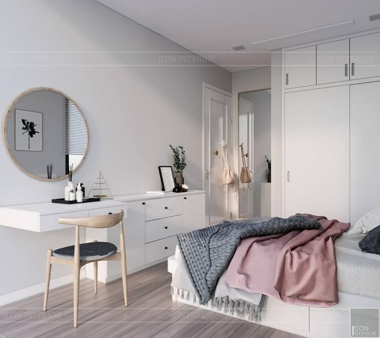 Thiết kế căn hộ 2 phòng ngủ phong cách Scandinavian Phòng ngủ phong cách Bắc Âu bởi ICON INTERIOR Bắc Âu