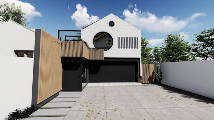 Exterior Facade Designs:  Single family home by UpStudio Architects, Modern