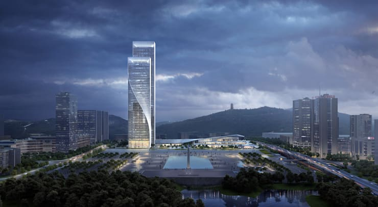 World-class Twisting Tower Glows in Ballet of Light:  Office buildings by Architecture by Aedas, Modern Glass