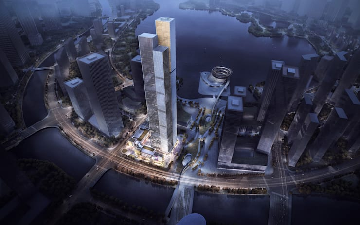 323-meter landmark reflects steep mountains in Changsha :  Study/office by Architecture by Aedas, Modern Glass