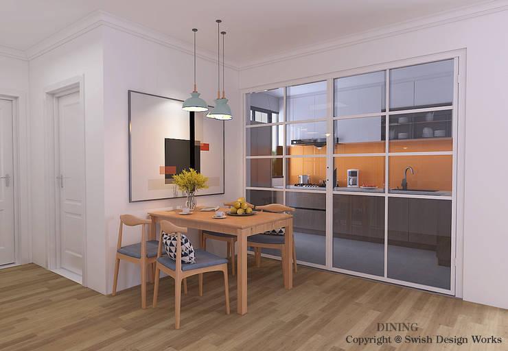 غرفة السفرة تنفيذ Swish Design Works, حداثي خشب رقائقي