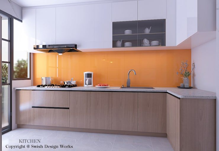 مطبخ ذو قطع مدمجة تنفيذ Swish Design Works, حداثي خشب رقائقي