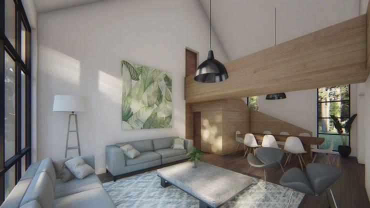 Chambre moderne par Soc. Constructora Cavent Spa Moderne