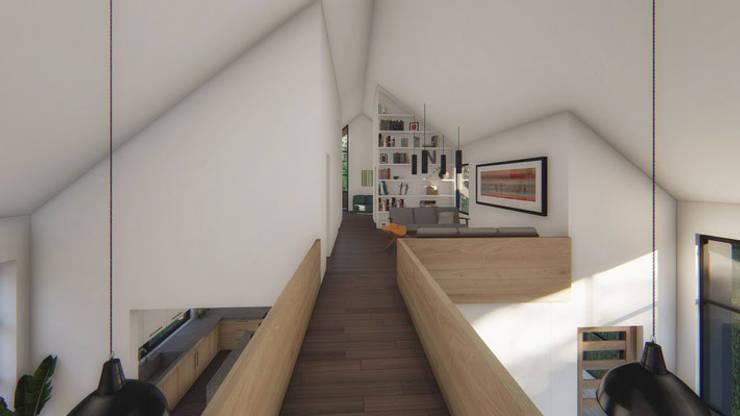 Casa VL Pasillos, vestíbulos y escaleras modernos de Soc. Constructora Cavent Spa Moderno