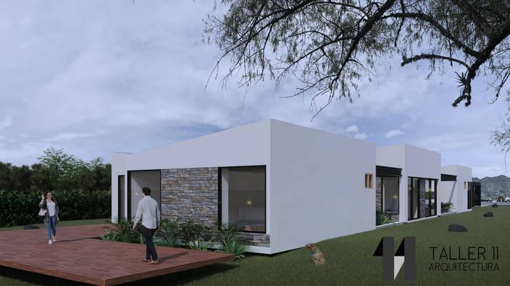 Vista exterior: Casas campestres de estilo  por Taller Once Arquitectura, Minimalista
