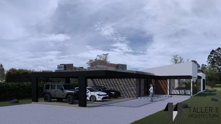 Vista exterior acceso: Casas campestres de estilo  por Taller Once Arquitectura, Minimalista