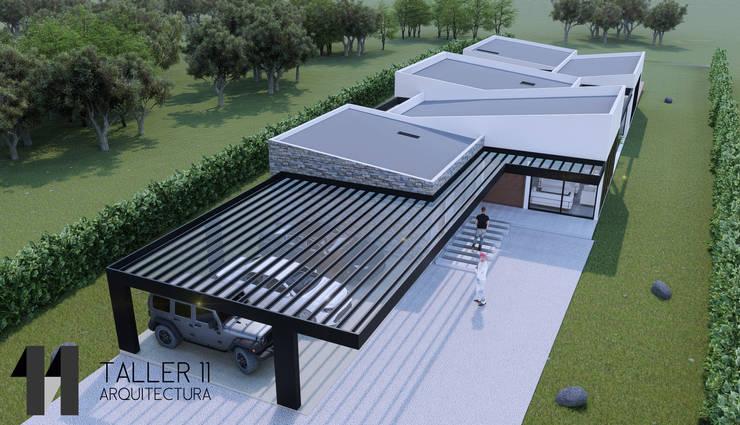 Vista aérea: Casas campestres de estilo  por Taller Once Arquitectura, Minimalista