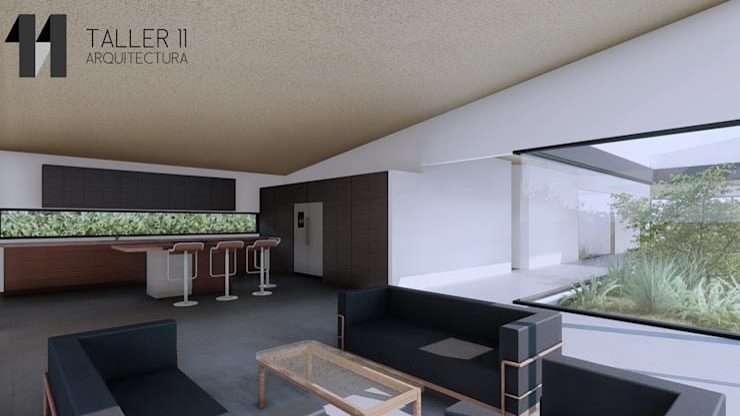 Vista interior zona social: Salas de estilo  por Taller Once Arquitectura, Minimalista