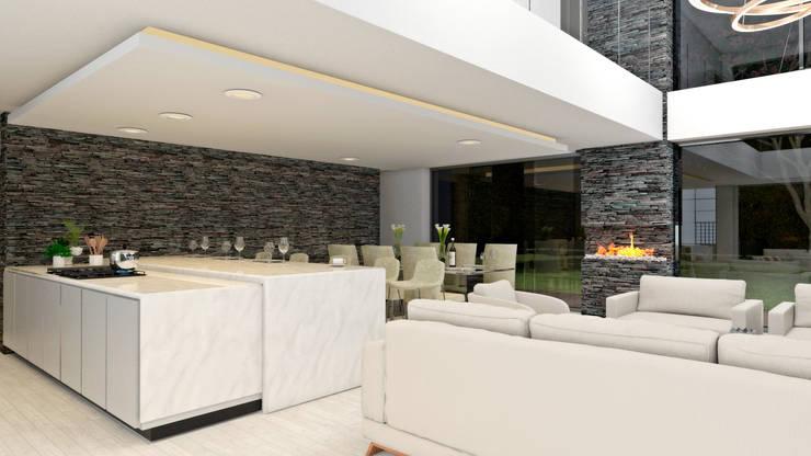 COCINA GOMEZ : Cocinas integrales de estilo  por M.arquitectura, Moderno Cuarzo